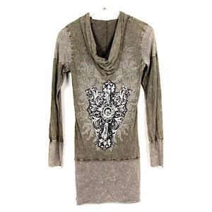 Vocal Tops - Vocal Bling Hoodie Tunic Sz S Gray Embellished